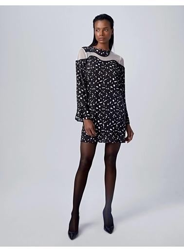 Huxel WLD009193 Omuz Transparan Elbise Siyah